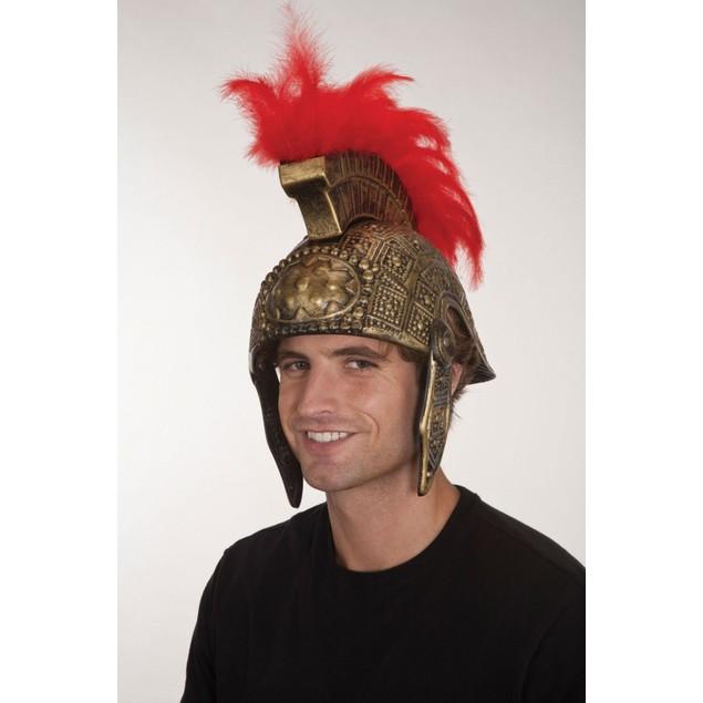 Plastic Gladiator Helmet With Feathers Spartan Colosseum Roman Empire Hat