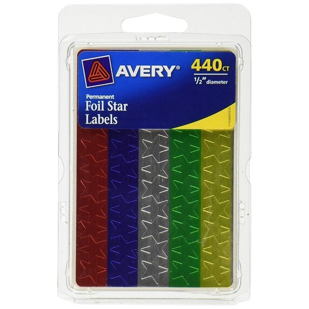 Avery Assorted Foil Star Labels Diameter, 440 Labels