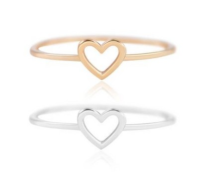 18k Open Heart Dainty Stacking Ring-2 Colors Was: $139.99 Now: $10.99.