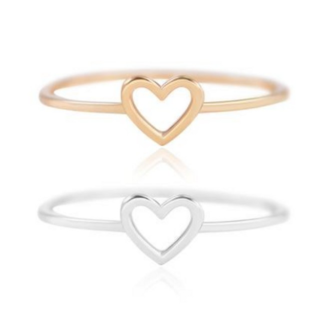 18k Open Heart Dainty Stacking Ring-2 Colors