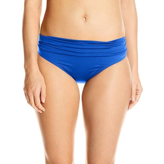 Jantzen Women's Solid Shirred Waist Bikini Bottom, Night Ocean,  SZ 12
