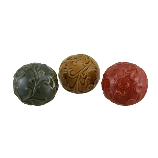 Set Of 6 Embossed Scrolled Leaf Glossy Ceramic Decorative Fruit And Balls