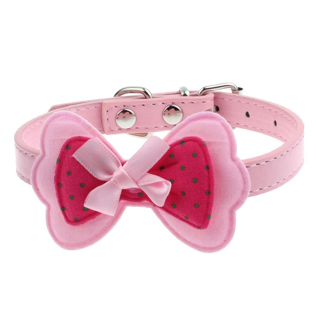 Double Bowknot Adjustable Pet Collars