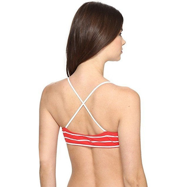 Polo Ralph Lauren Womens French Stripe Laced Front Bralette Paris Red