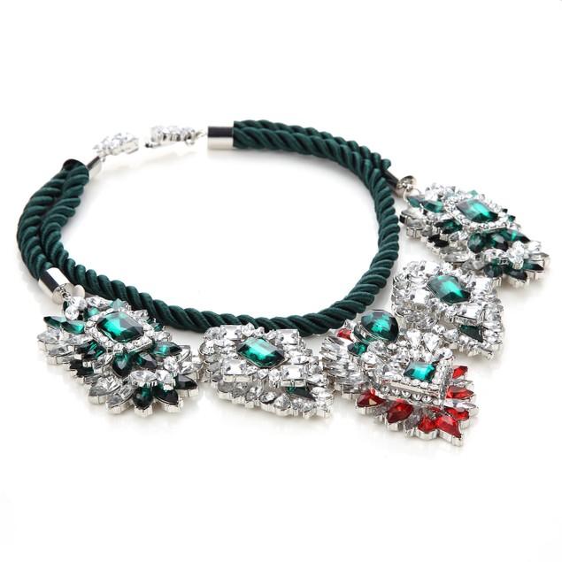 Novadab Emerald Estate Duchess Crystal Chandelier Statement Necklace