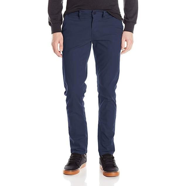 WT02 Men's Long Basic Stretch Skinny Chino Pants, Navy, Sz:  32x30