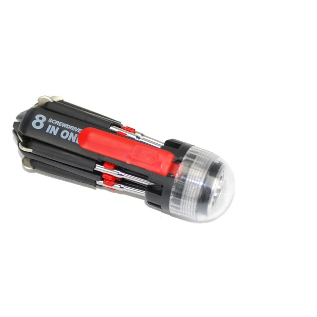 8 In 1 Multi-Screwdriver 3 LED Torch Multifunction Portable