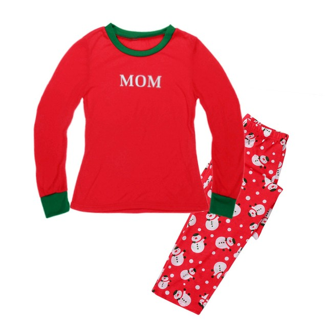 Christmas Family Mom Mother Pajamas Set Snowman Sleepwear Nightwear