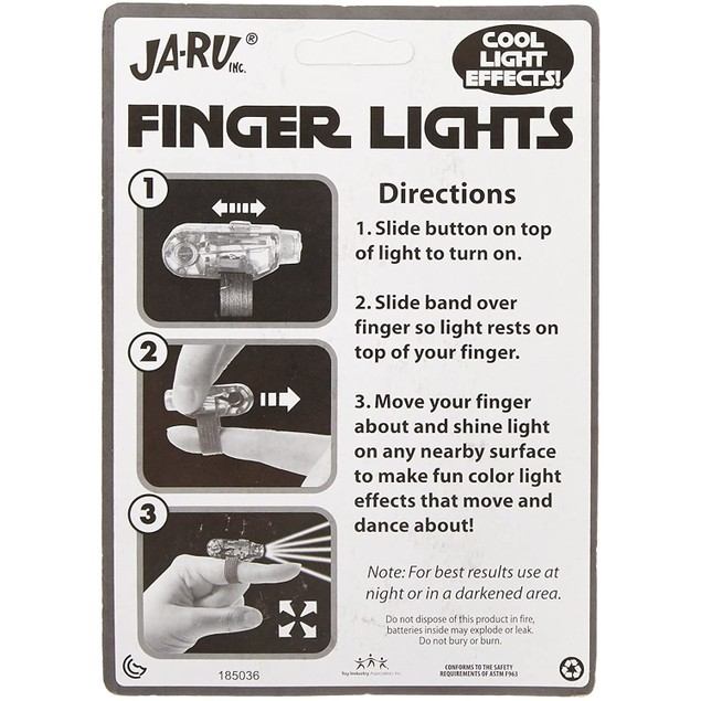 JA-RU Point & Wave Battery Operated Finger Lights, Great for Parties, 3