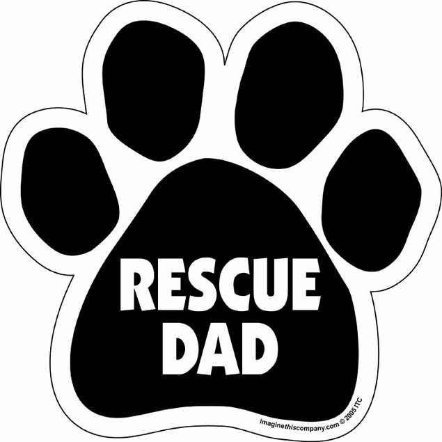 "Rescue Dad Paw Magnet Dog Cat 5.5"" x 5.5"" Shaped Auto Black Car Gift"