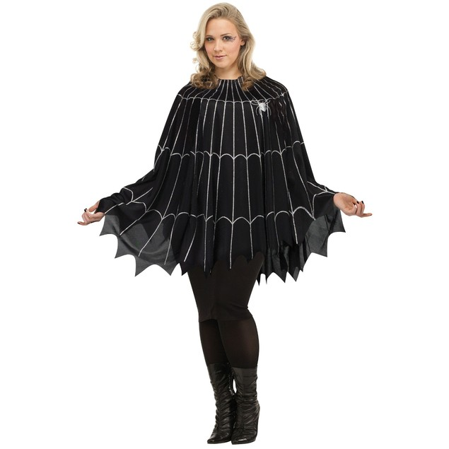 Spider Web Poncho Plus Size Dress Costume Womens Black Silver Glitter Goth