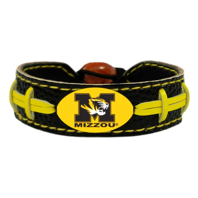 Missouri Tigers Team Color Football Bracelet NCAA College D1 Mizzou Leather