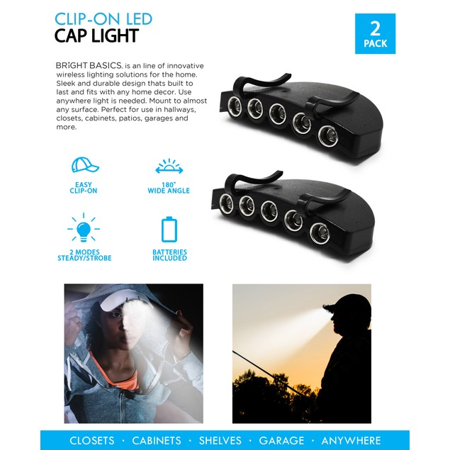 2-Pack Bright Basics Clip-On LED Hat Lights