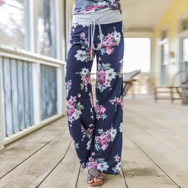 Heather Flower Pants with Grey Waist