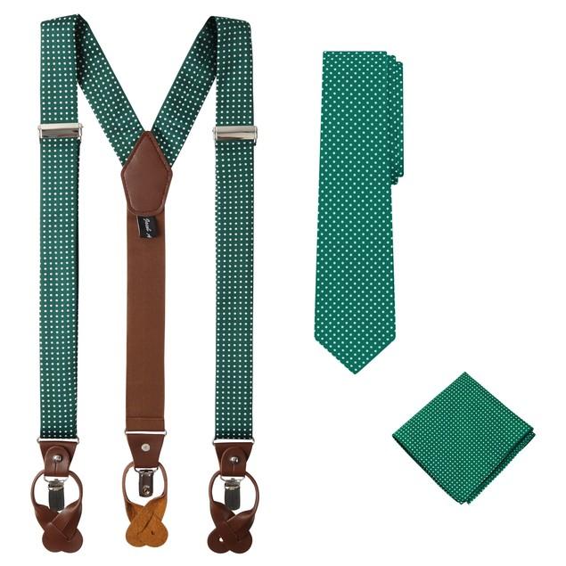 Jacob Alexander Matching Polka Dot Suspenders Handkerchief and Tie