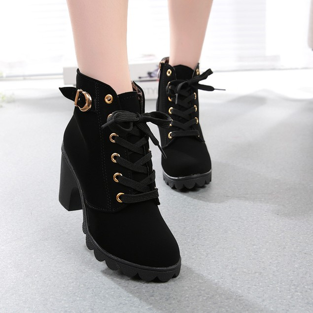 Womens High Heel Lace Up Ankle Boots Ladies Buckle Platform Shoes