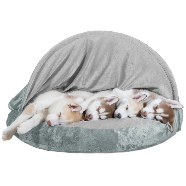 FurHaven Orthopedic Round Microvelvet Snuggery Burrow Pet Bed