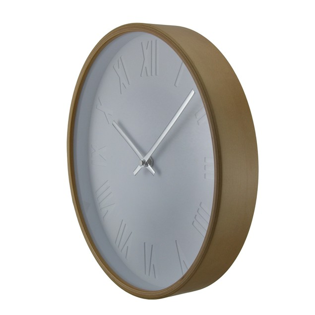 Natural Round Bentwood Wall Clock With Debossed Wall Clocks