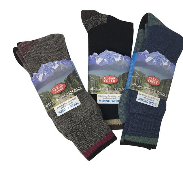 3-Pack: Men's Clear Creek Merino Wool Winter Hike Camping Boot Socks
