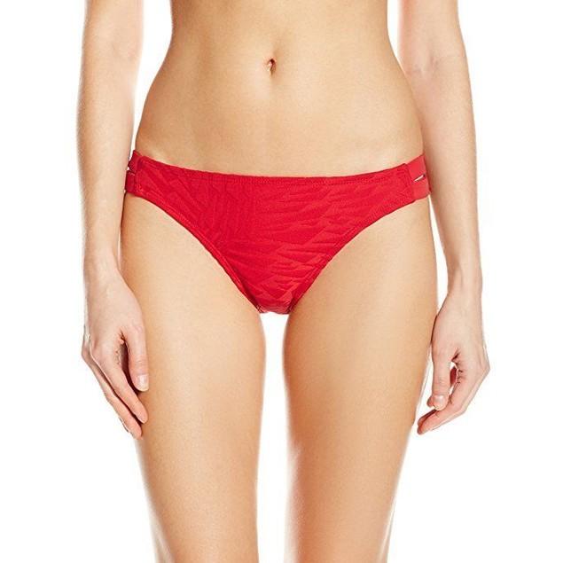 Nautica Women's Point Of Sail Strap Bikini Bottom , Red, 10