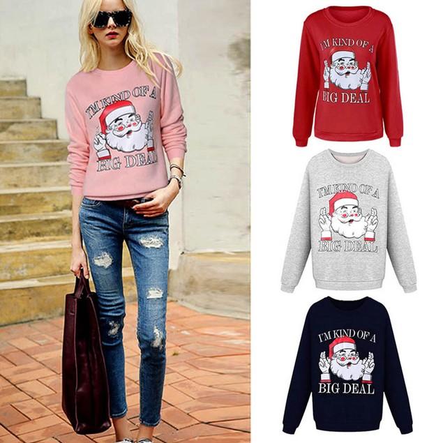 Women Christmas Print Long Sleeve Pullover Sweatshirt Blouse Shirt