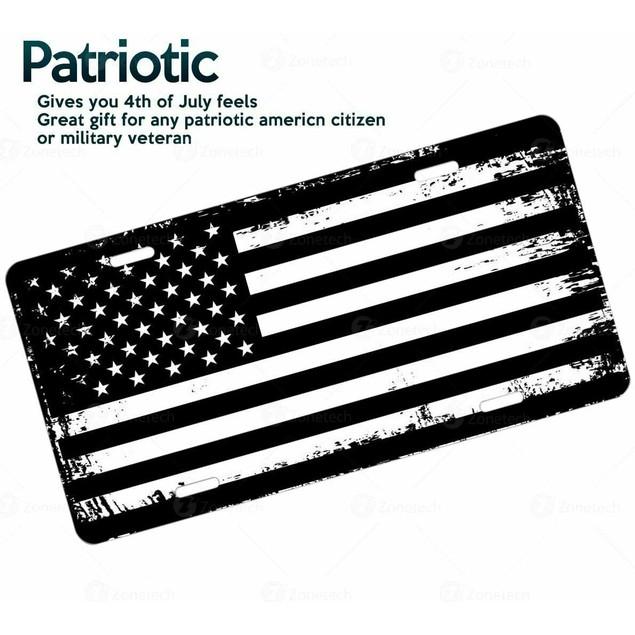 Zone Tech Black White Steel Distressed Grunge Patriotic License Plate