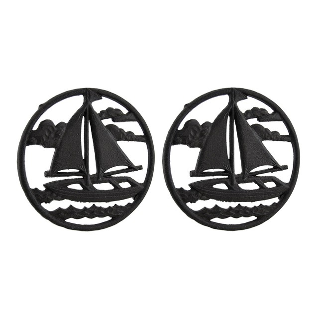 2 Piece Rustic Brown Sailboat On The Sea Round Trivets