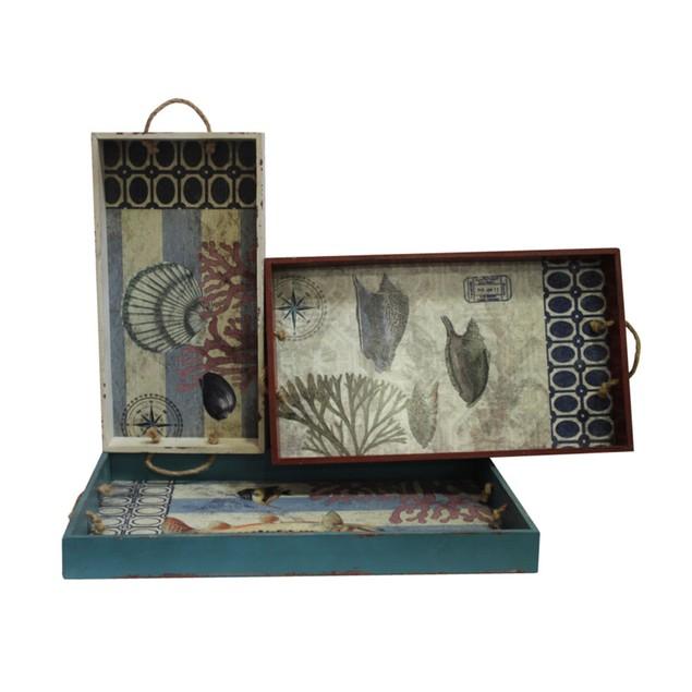 Set Of 3 Nesting Distressed Finish Nautical Theme Decorative Trays