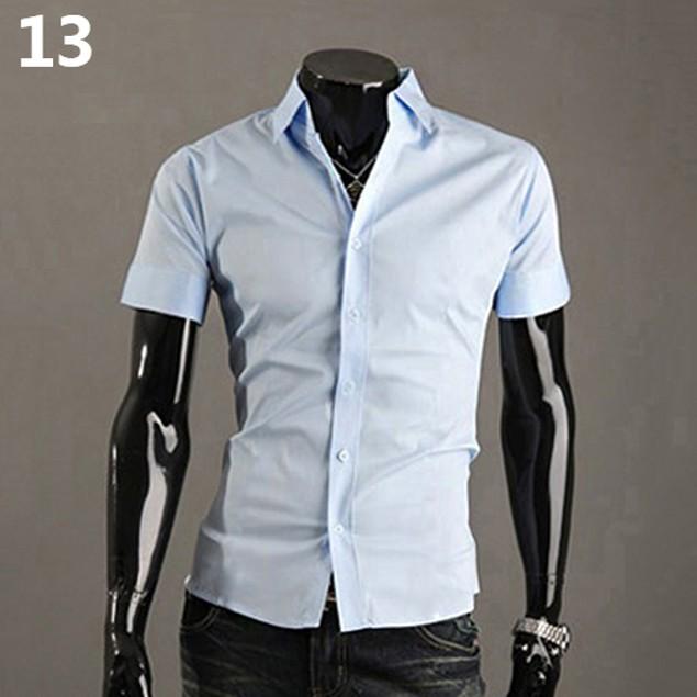 Men's Fashion Turn-Down Collar Short Sleeve Shirt
