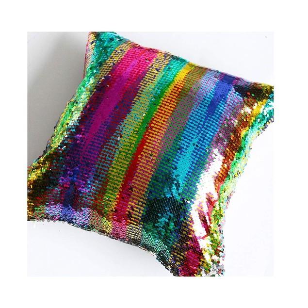 STAEMENT PIECE Mermaid Pillow Reversible Sparkly Accent Sequin Pillow