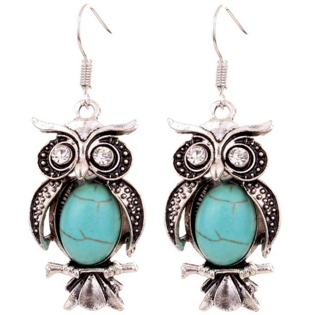 Novadab Antique Owl Boho Turquoise Women Earrings