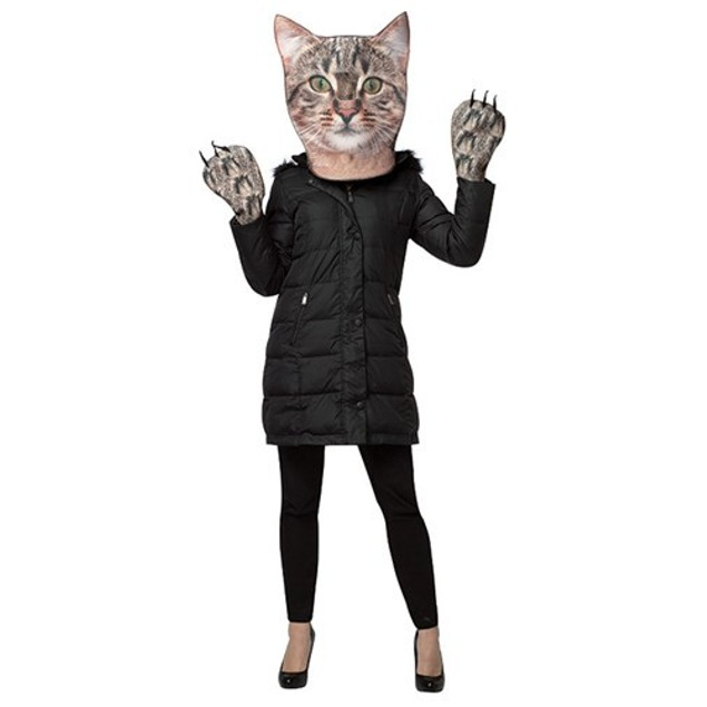 Kitty Kit Cat Mask Mitts Paws Hands Face Kitten Photo Print Adult Costume