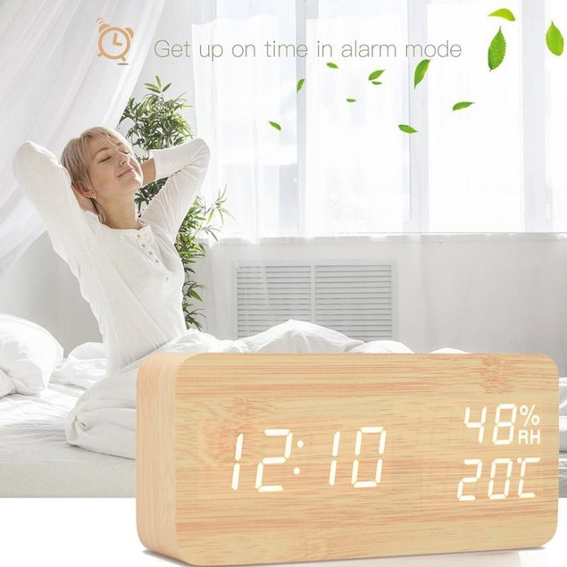 LED Display Digital Wooden Alarm Clock