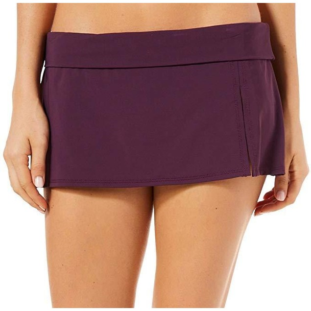Bleu Rod Beattie Women's Kore Skirted Hipster Bikini Bottom Aubergine