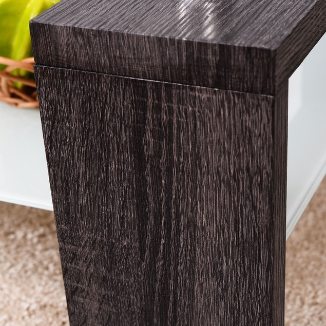 Wood Tempered Glass Top Coffee Table Rectangular w/ Shelf Home Furniture