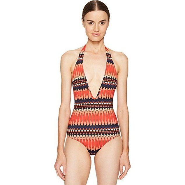 Paul Smith Women's No 9 Print Halter Swimsuit Coral Swimsuit  Sz: L