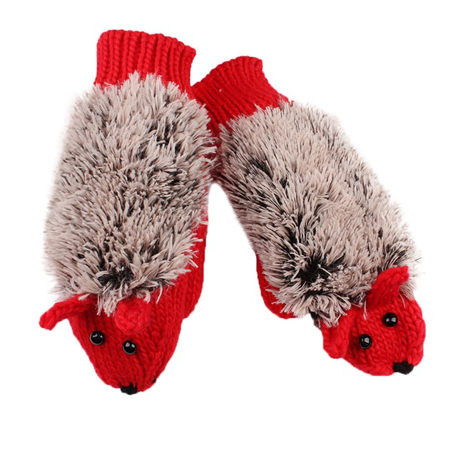 Autumn Winter Gloves Women Mittens Cartoon Knitted Hedgehog Glove