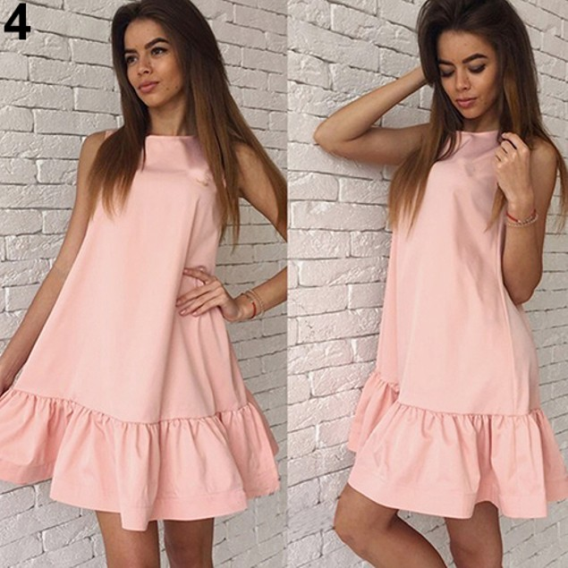 Women's Summer Fashion Loose Solid Color Ruffled Sleeveless Dress