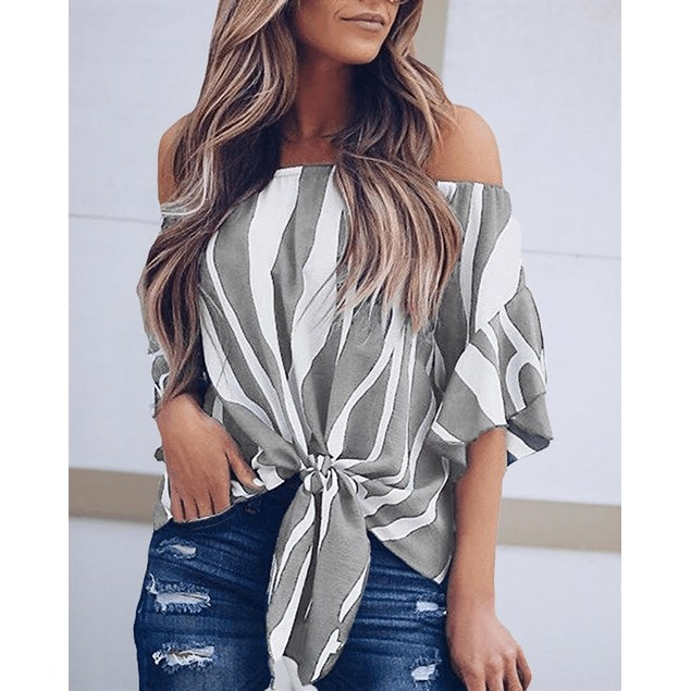Vertical Striped Flare Sleeve Bardot Blouse