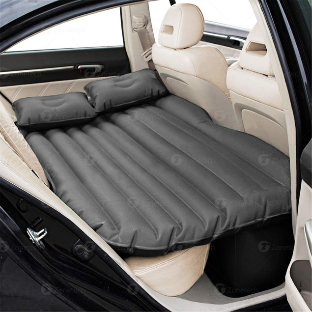 Zone Tech Inflatable Travel Car Mattress Air Bed Rest Mat w/ 2 Pillows and