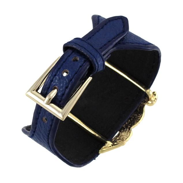 Blue Vinyl Wristband W/ Rhinestone Encrusted Womens Cuff Bracelets