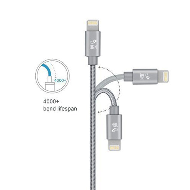 DGN Apple iPhone 2 in 1 Lightning USB Data Sync Braided Charger Cable