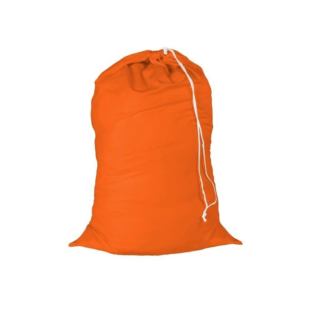 Cotton Laundry Bag Orange Drawstring Clothes Storage 2 Pack