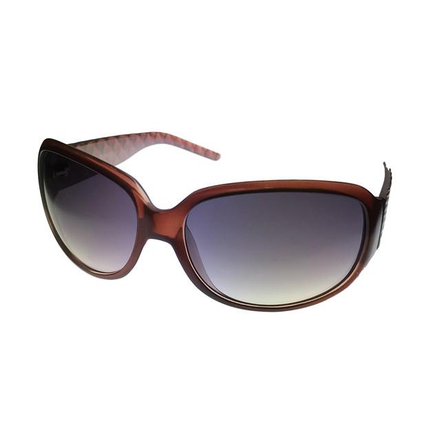 Ellen Tracy Womens Sunglass Brown Plastic Rectangle, Gradient Lens 501 1