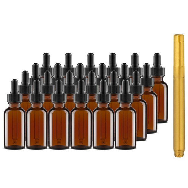 24 Pack Of 1 oz Amber Glass Bottles with Dropper Tops and Gold Glass Pen