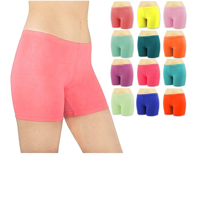 6-Pack Women's Cotton Stretch Vibrant Color Boy Shorts