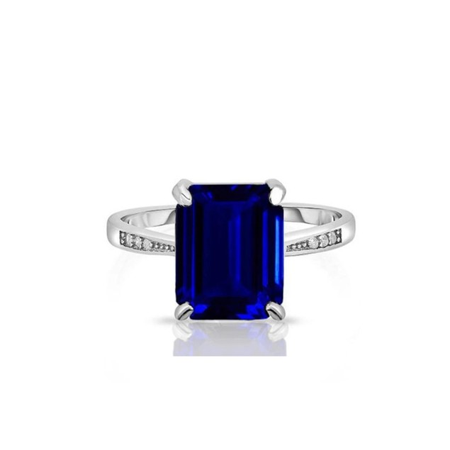 Sterling Silver Emerald Cut Sapphire Ring