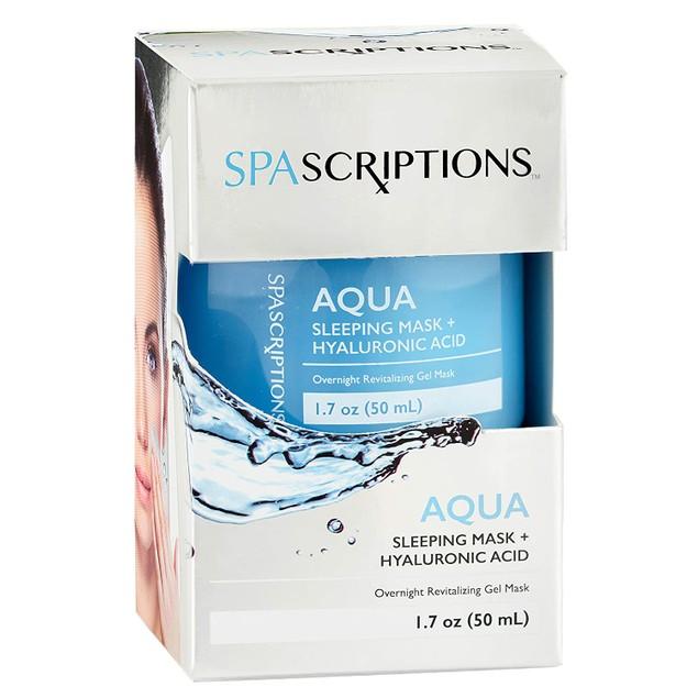 SpaScriptions Aqua Sleeping Mask + Hyaluronic Acid, Overnight Gel Mask, 1.7