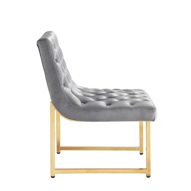 Chic Home Esfir Velvet Upholstery Plush Cushion Metal Frame Accent Chair