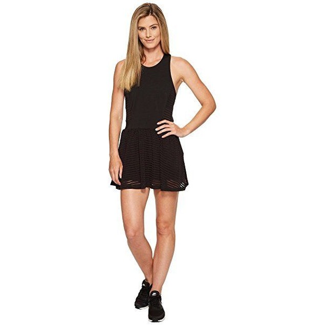 Lucy Women's Ready Set Layer Dress Lucy Black Stripe Mesh Dress SZ L